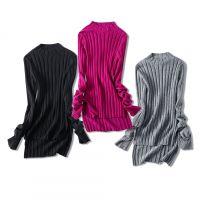 18秋冬季新品 太美了修身显瘦 侧边开叉弹力坑条羊毛针织打底衫女