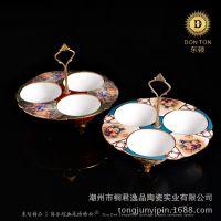 陶瓷果盘工艺品 时尚欧式家居茶几餐桌摆件 小吃果盘 陶瓷彩铜