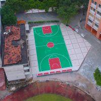 丙烯酸篮球场面层分色 广州篮球场地建设施工 价格实惠的球场画线