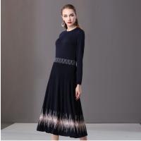 楚贝尔蓝色针织连衣裙女中长款大裙摆2018英伦风时尚针织内搭裙