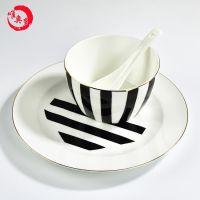 唐山唯奥陶瓷工厂直销骨瓷米饭碗 加工定制陶瓷餐具套装 创意碗盘碟LOGO