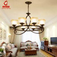 新款美式乡村客厅吊灯简约北欧圆盘铁艺吊灯创意田园卧室餐厅灯具