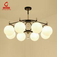 祺祥照明北欧美式乡村客厅吊灯现代水晶艺术大气圆球卧室餐厅灯具