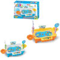 升级版USB线充电磁性钓鱼台捕鱼达人游戏儿童玩具 可加水钓鱼乐园