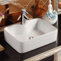 高温白色方形单孔陶瓷卫浴洗手盆洗脸盆