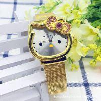 【热销】HELLOKITTY猫头镶钻手表kt卡通儿童手表女皮带学生手表