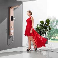 欧帝洁 304不锈钢即开即热式淋浴屏洗澡淋浴集成电热水器 预付定制太阳能款定金 包安装 玫瑰金