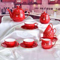 维奥 厂家批发骨质瓷咖啡具套装 创意陶瓷南瓜喜庆咖啡具 定制加logo