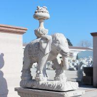 厂家定制汉白玉石雕大象风水招财如意石象雕塑摆件酒店门口石大象