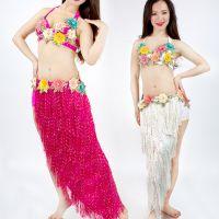 2018春夏新款肚皮舞套装表演服花朵肚皮舞演出套装印度舞文胸套装