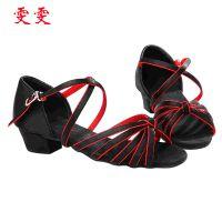 厂家直销 pu少儿拉丁舞舞蹈鞋 黑红色鱼嘴儿童拉丁高跟舞鞋