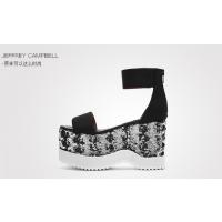 美国时尚女鞋Jeffrey Campbell春夏新品黑色一字带露趾舒适厚底亮片凉鞋女