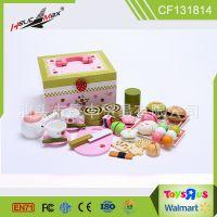 儿童超Q木制甜品套餐 女孩过家家餐具/厨具 仿真木制迷你食物玩具