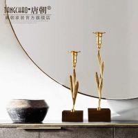 美式欧式铜制复古飘叶子烛台摆件客厅餐桌浪漫家居软装饰品样板房