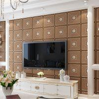 现代简约软包方格客厅电视背景墙壁纸3D鹿皮绒加厚卧室无纺布壁纸