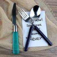 不锈钢塑料手柄刀叉勺套装 镜面抛光304牛排西餐刀叉套装