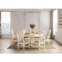 欧式奢华实木雕花餐桌椅复古做旧美式乡村大圆桌简欧现代家用饭桌