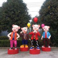 定制玻璃钢户外卡通猪年吉祥物雕塑花园园林幼儿园摆件装饰直销厂