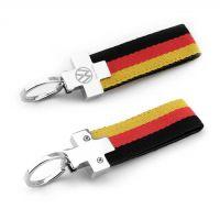 创意礼品德国国旗宝马迷你三色织带金属钥匙扣汽车腰挂广告钥匙圈