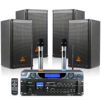 狮乐AV106/BX110/SH09会议音响组合套装 独立四声道两分区功放话筒会所店铺背景音响系统