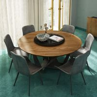 北欧设计师圆形餐桌椅组合 现代简约圆桌家用吃饭桌子 带转盘餐台