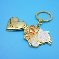 供应爱心相框钥匙扣 情侣金属钥匙扣 猫和老鼠相框广告礼品钥匙扣