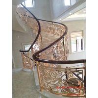 延吉铜雕刻楼梯 紫铜材质楼梯护栏定做