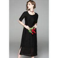 【翥牌】19夏季时尚大码真丝印花长款连衣裙 品牌折扣女装