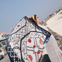 卡卡贝宁七彩方块文艺民族风棉麻围巾海边旅游披肩沙滩巾送礼丝巾