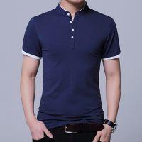 男式t恤 修身立领短袖男装 潮流夏季纯色体恤衫男打底衫一件代发