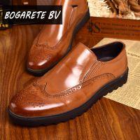 厂家批发新款广州男式皮鞋 真皮套脚春秋布洛克雕花镂空皮鞋棕色