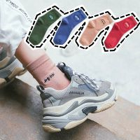 韩国韩语刺绣短袜蓝色男女袜子权志龙同款中筒袜纯棉运动袜子长袜