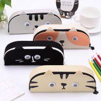 韩版创意简约文具盒男女小清新文具袋 卡通猫咪帆布笔盒
