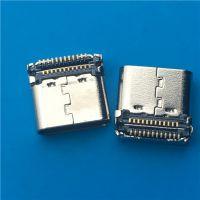 TYPE C USB 3.1母座 24P 双排贴片SMT 90度后两脚插板DIP 有柱