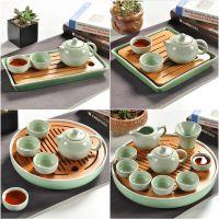 陶瓷茶盘家用简约功夫茶具套装圆形竹托盘日式迷你储水小茶台