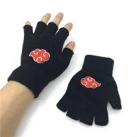 新款火影忍者晓红云标志动漫针织刺绣半指保暖手套男女通用户外