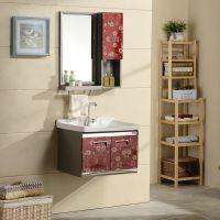 不锈钢组合浴室柜 一体陶瓷盆挂墙式浴柜 简约现代卫生间组合镜柜