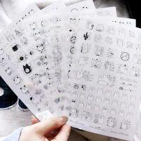 手机贴纸韩国文具搞怪熊猫猫咪透明PVC日记卡通相册6张入手帐贴画