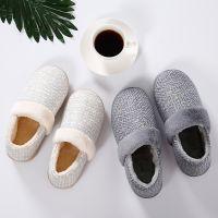 冬季新款室内加厚保暖情侣家居鞋 棉麻包跟居家月子鞋男女棉鞋