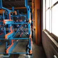 湖南悬臂货架 伸缩式管材货架案例 行车直接吊取存放