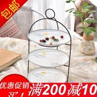 韩式陶瓷水果盘甜品台婚庆生日三层蛋糕架创意下午茶点心客厅多层
