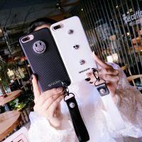 奢华水钻挂绳笑脸iphone6/6s手机壳苹果7/7plus仿皮保护套女款潮