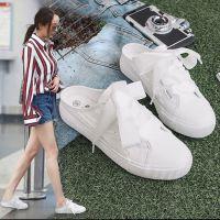 没得后跟的鞋子百搭女拖鞋韩版小白鞋女学生春夏季厚底半拖板鞋