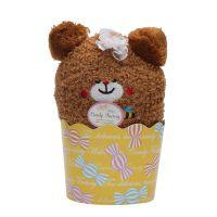 日本进口纸杯蛋糕儿童中筒袜子卡通透气地板袜毛圈儿童袜