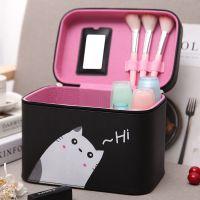 包邮韩国大容量手提化妆包简约便携可爱化妆箱小号收纳箱潮流新品