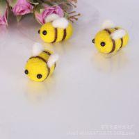 供应羊毛毡戳戳乐可爱小蜜蜂成品 麋鹿 diy头饰服装动物小饰品