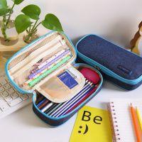 韩版文具牛仔大容量铅笔盒帆布笔袋创意多功能文具盒一件代发