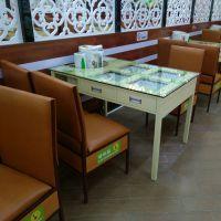 多功能带抽屉餐桌 自助式餐厅酒楼饭店现代中式铁制桌椅 省人工餐厅家具