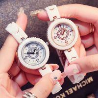 白色陶瓷手表批发 韩版时尚潮流女生陶瓷表 女士石英表水钻时装表