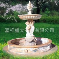 供应大型石雕人物喷泉 欧式组合晚霞红风水喷泉 可以定做